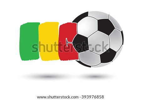 Soccer ball and Mali Flag with colored hand drawn lines - stock photo