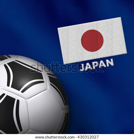 Soccer ball and national team jersey of Japan.