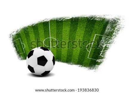 Soccer ball and painted field. Sports Concept - stock photo