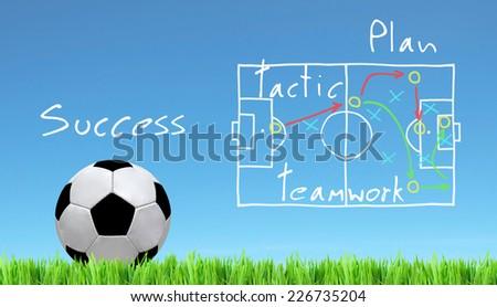 soccer ball and plan  - stock photo