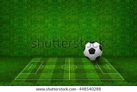 Soccer ball and soccer football field with green grass wall texture background. - stock photo