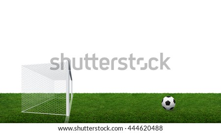 Soccer ball and soccer goal post with net isolated on white background with clipping path.