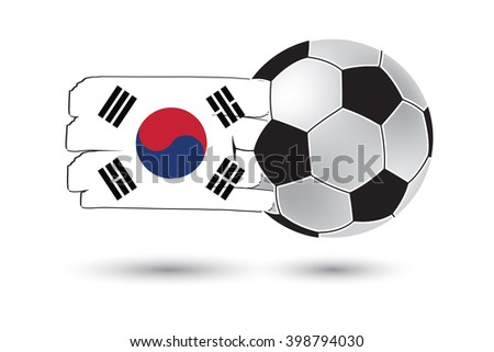 Soccer ball and South Korea Flag with colored hand drawn lines - stock photo