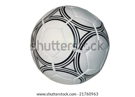 soccer ball close up, isolated on a white background - stock photo