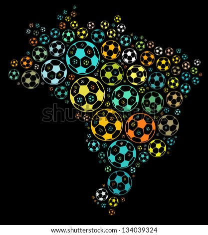 Soccer ball composed in the shape of Brazil map on black background - stock photo