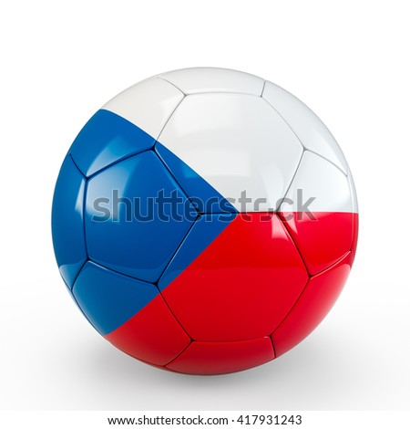 Soccer ball covered with Czech Czechia flag texture isolated on white background. 3D Rendering, 3D Illustration.