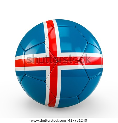 Soccer ball covered with Island flag texture isolated on white background. 3D Rendering, 3D Illustration. - stock photo