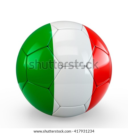 Soccer ball covered with Italy Italian flag texture isolated on white background. 3D Rendering, 3D Illustration.