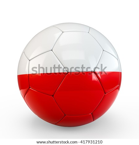 Soccer ball covered with Polish Poland flag texture isolated on white background. 3D Rendering, 3D Illustration.
