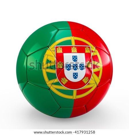 Soccer ball covered with Portugal Portuguese flag texture isolated on white background. 3D Rendering, 3D Illustration.