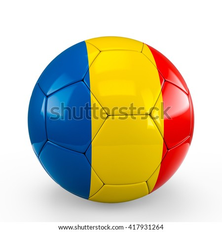 Soccer ball covered with Romania Romanian Chad Chadian flag texture isolated on white background. 3D Rendering, 3D Illustration.