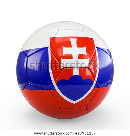 Soccer ball covered with Slovakia Slovakian flag texture isolated on white background. 3D Rendering, 3D Illustration.