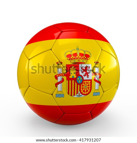Soccer ball covered with Spain Spanish flag texture isolated on white background. 3D Rendering, 3D Illustration.