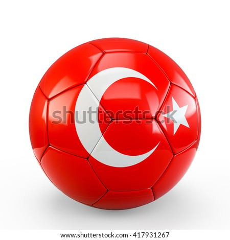 Soccer ball covered with Turkey Turkish flag texture isolated on white background. 3D Rendering, 3D Illustration.