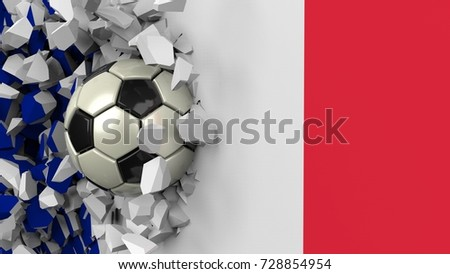 Soccer ball crashes wall painted France flag. The wall was cracked. 3D illustration.