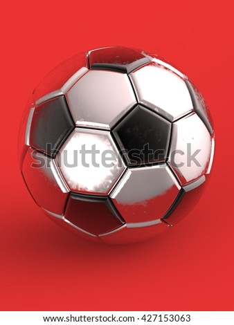 Soccer ball. 3D illustration. 3D CG. Format 3:4.