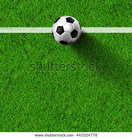 Soccer ball ( 3d illustration)  on real Grass field image