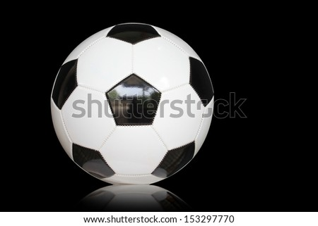 soccer ball detail with reflect on black background  - stock photo