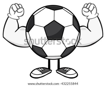 Soccer Ball Faceless Cartoon Mascot Character Flexing. Raster Illustration Isolated On White Background - stock photo