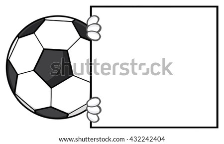 Soccer Ball Faceless Cartoon Mascot Character Looking Around A Blank Sign. Raster Illustration Isolated On White Background - stock photo