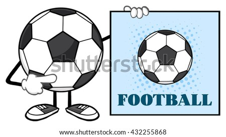 Soccer Ball Faceless Cartoon Mascot Character Pointing To A Sign With Text Football. Raster Illustration Isolated On White Background - stock photo