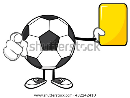 Soccer Ball Faceless Cartoon Mascot Character Referees Pointing And Showing Yellow Card. Raster Illustration Isolated On White Background - stock photo