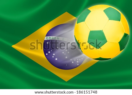 Soccer ball flying out of the flag of Brazil, where the game is a national passion.