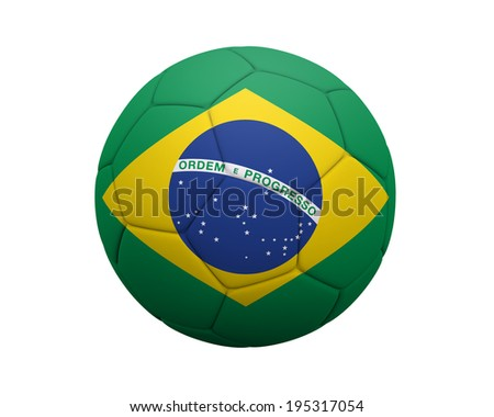 Soccer ball / Football with Brazilian flag isolated on a white background. - stock photo