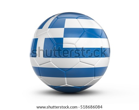Soccer ball Greece flag on a white background. 3D illustration.