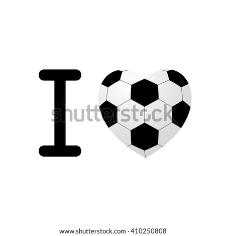 soccer ball heart isolated on white background.