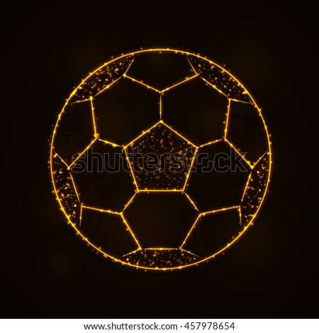 Soccer Ball Illustration Icon, Gold Color Lights Silhouette on Dark Background. Glowing Lines and Points - stock photo