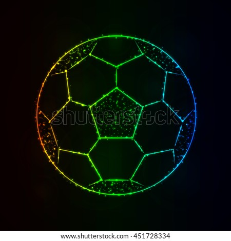 Soccer Ball Illustration Icon, Gradient Color Lights Silhouette on Dark Background. Glowing Lines and Points - stock photo