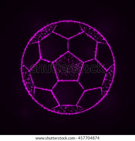 Soccer Ball Illustration Icon, Magenta Color Lights Silhouette on Dark Background. Glowing Lines and Points - stock photo