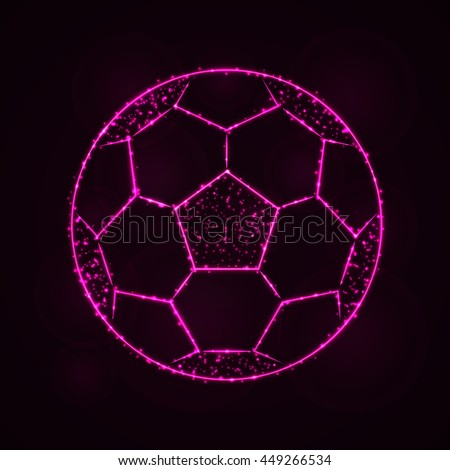 Soccer Ball Illustration Icon, Pink Color Lights Silhouette on Dark Background. Glowing Lines and Points - stock photo