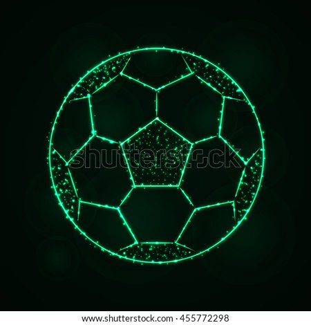 Soccer Ball Illustration Icon, Spring green Color Lights Silhouette on Dark Background. Glowing Lines and Points - stock photo