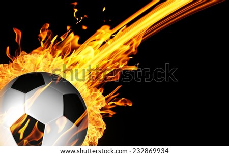 Soccer ball in burning fire flames - stock photo