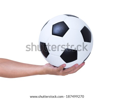 Soccer ball in hand isolated on white background, clipping path - stock photo