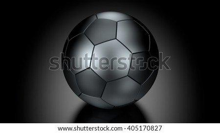 Soccer ball  in Low Key Lighting over a black background. Part of a series. 3D Rendering.