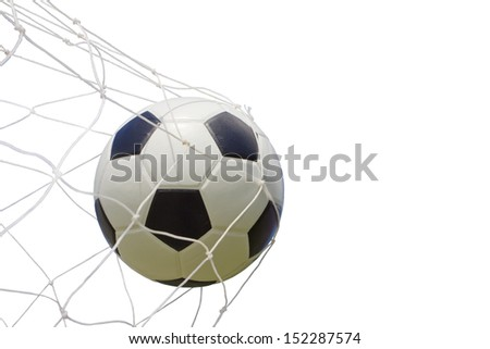 soccer ball in net on white, with clipping path - stock photo
