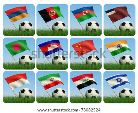 Soccer ball in the grass and the flag against the blue sky. Asian flags. 3d - stock photo