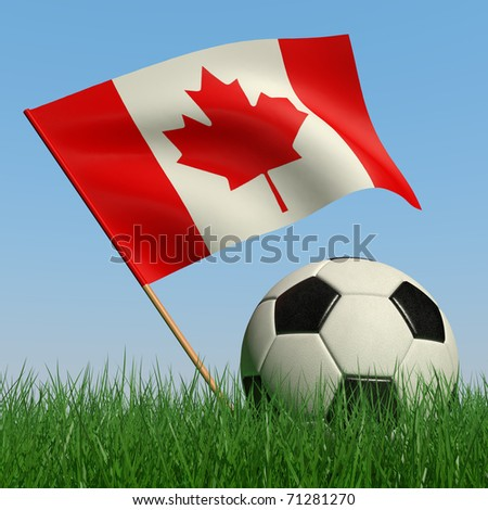 Soccer ball in the grass and the flag of Canada against the blue sky. 3d