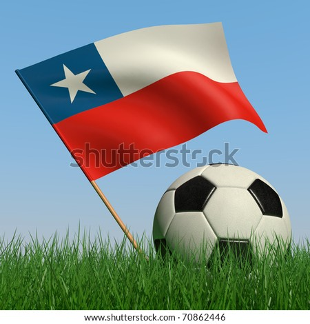 Soccer ball in the grass and the flag of Chile against the blue sky. 3d - stock photo