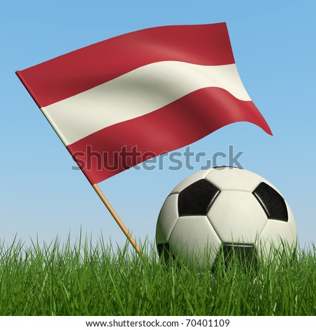 Soccer ball in the grass and the flag of Latvia against the blue sky. 3d - stock photo