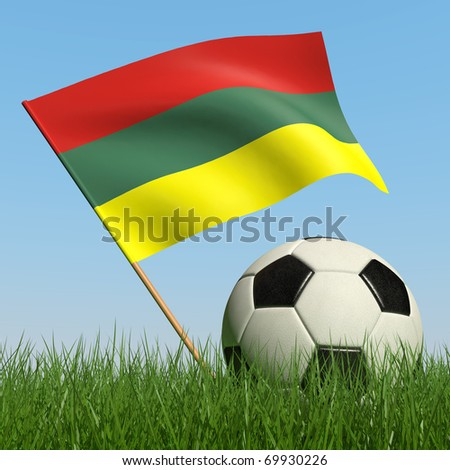 Soccer ball in the grass and the flag of Lithuania against the blue sky. 3d - stock photo