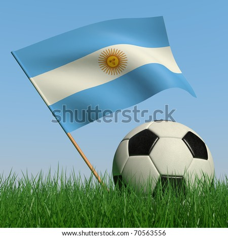 Soccer ball in the grass and the flag of Norway against the blue sky. 3d - stock photo