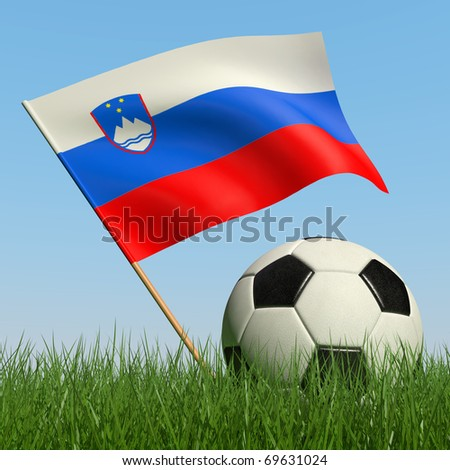 Soccer ball in the grass and the flag of Slovenia against the blue sky. 3d - stock photo