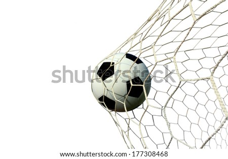 soccer ball in the net  on a white background