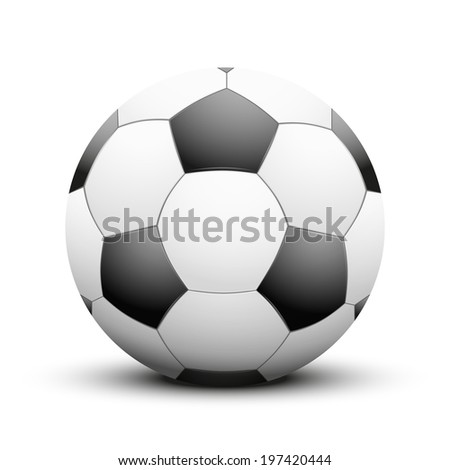 Soccer ball in the traditional two-tone colors. Isolated on white background. Bitmap copy. - stock photo