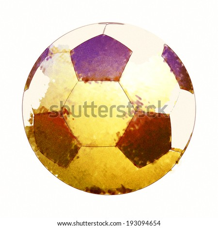 Soccer ball in Watercolor Isolated on White Background. - stock photo