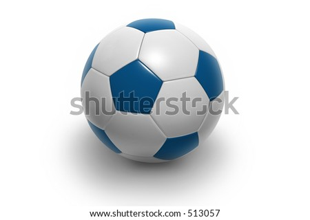 Soccer ball isolated on white background. Photorealistic 3D rendering. (blue and white, see portfolio for more colors) - stock photo